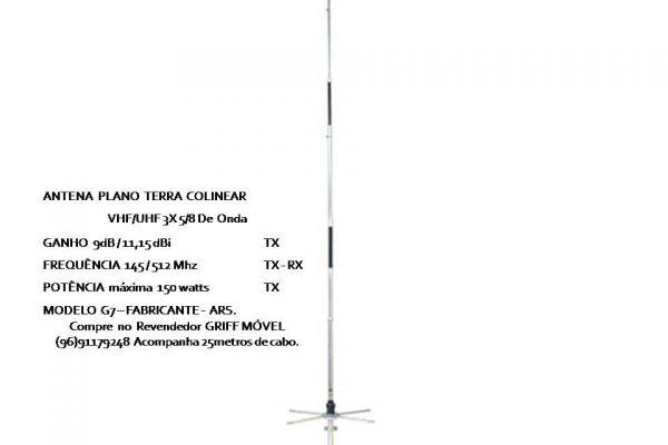 Antena plano terra grande alcance tx e rx