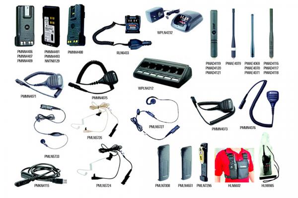 Lista acessórios dos Rádios DEP550 Energia Áudio Transporte e RF